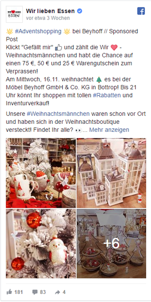 Facebook Post Wir Lieben Essen