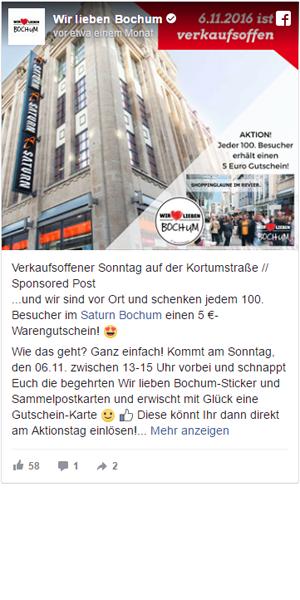 Facebook Post Wir Lieben Bochum