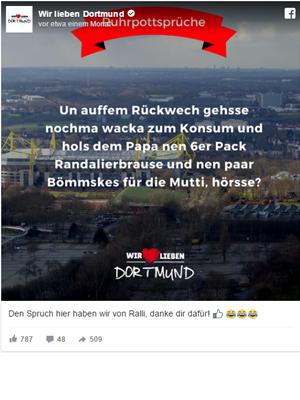 Facebook Post Wir Lieben Dortmund
